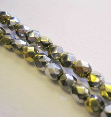 Czech Fire Polished Beads - 4mm - Crystal California Silver (50)